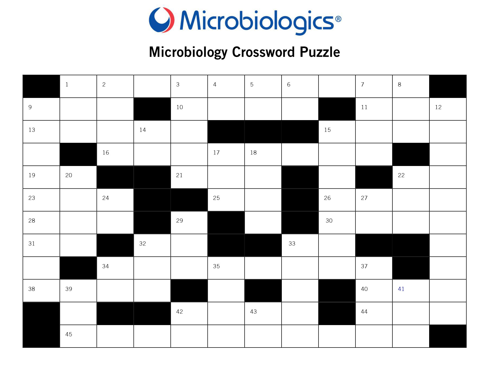 Microbiology Crossword Puzzle Image
